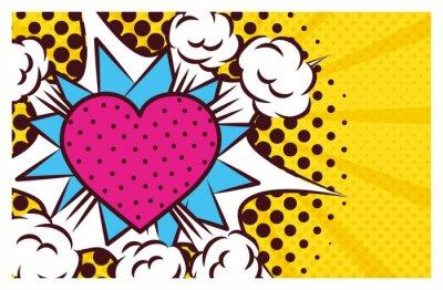 Cuadro heart love pop art style