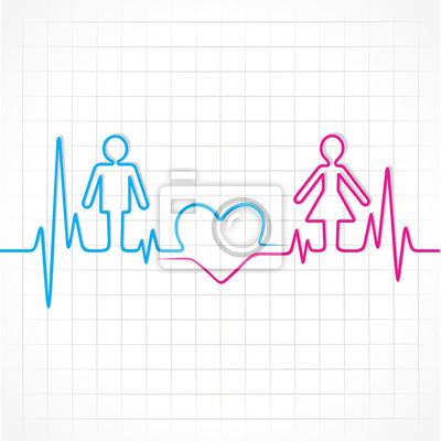 Heartbeat Hace Hombre Mujer Y Símbolo Del Corazón Stock Vector