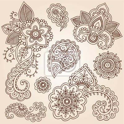 Henna Paisley Tattoo Mandala Doodles Elementos De Diseño Vectorial