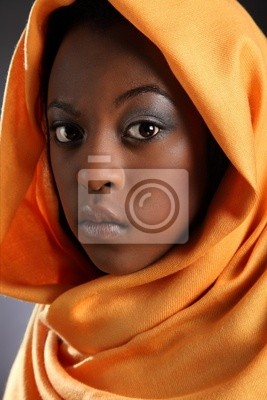 8cdcff6e88f8b Hermosa chica negro joven que llevaba headress pinturas para la ...