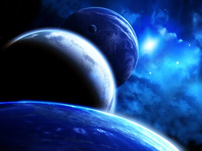 Cuadro Hermosa escena del espacio con desfile de planetas y nebulosa