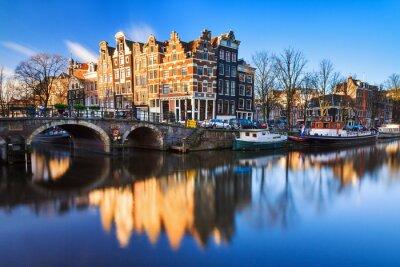 Cuadro Hermosa imagen de la UNESCO patrimonio mundial canales de la 'Brouwersgracht' es 'Prinsengracht (Canal del Príncipe)' en Amsterdam, los Países Bajos