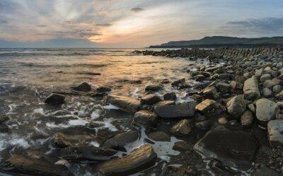 Cuadro Hermosa imagen del paisaje puesta de sol de la costa rocosa en Kimmeridg