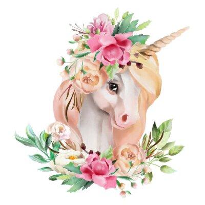Cuadro Hermosa, linda, acuarela cabeza de unicornio con flores, corona floral, ramo aislado en blanco