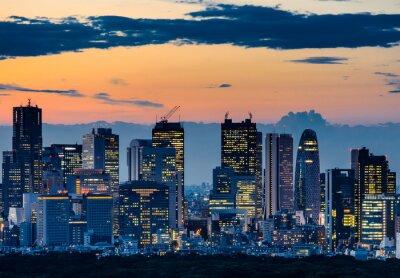 Cuadro Hermosa silueta de Tokio horizonte en el crepúsculo