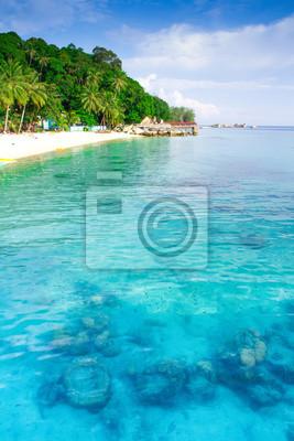 Hermoso arrecife de corail y de la playa de Isla Perhantian