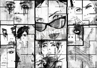 Cuadro Hermoso collage, caras de las mujeres. Pintado a mano ilustración de la moda