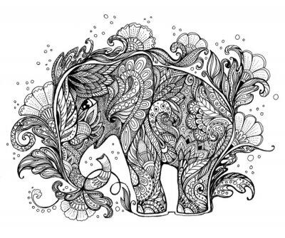 Cuadro Hermoso elefante pintado a mano con adornos florales