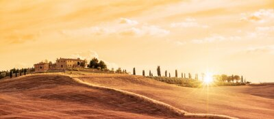 Cuadro Hermoso panorama típico panorama de la Toscana al atardecer, Italia
