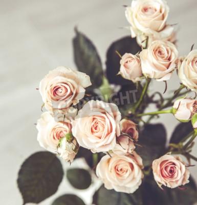 Cuadro Hermoso ramo de rosas de melocotón en florero de época sobre un fondo negro
