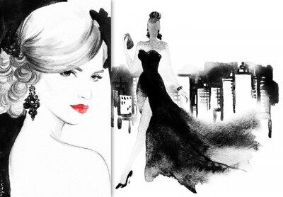 Cuadro Hermoso rostro. Mujer con vestido elegante. Fondo abstracto de la acuarela .fashion