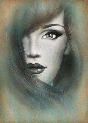 Cuadro Hermoso rostro. Retrato de la mujer. Fondo abstracto de la acuarela .fashion