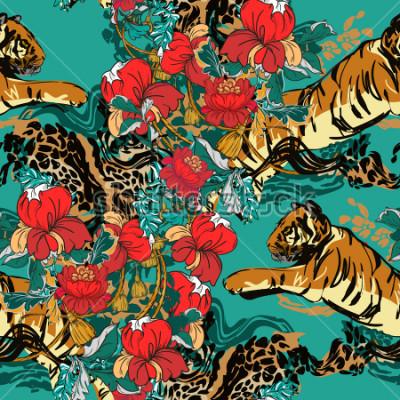 Cuadro Hermoso tigre abstracto con flores rojas y tendencia patrón transparente. Tejido de diseño.
