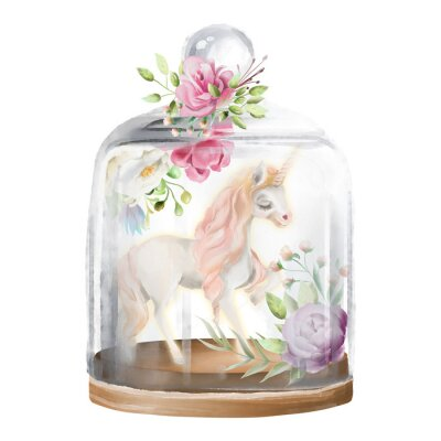 Cuadro Hermoso, unicornio, caballo mágico y flores en un tarro de cristal. Ilustración acuarela fantasía aislado en blanco