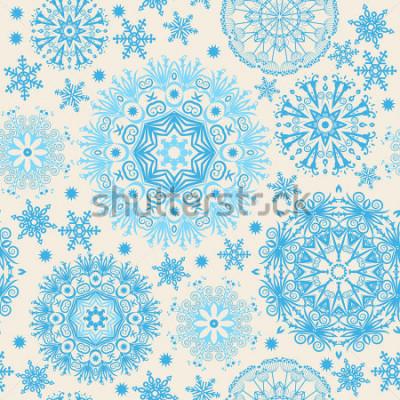 Cuadro Hermosos copos de nieve Fondo abstracto con elementos de moda. Patrón de vector para diseño web, textil, diseño gráfico.