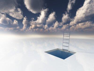 Cuadro Hielo como superficie con piscina de agua y la escalera