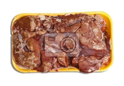 Hígado crudo pollo congelado