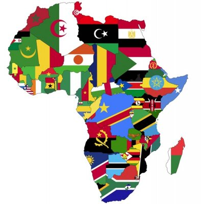 Cuadro Highly Detailed Africa Map With Country Flags.