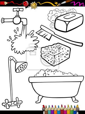 Cuadro Higiene De Dibujos Animados Para Colorear Objetos