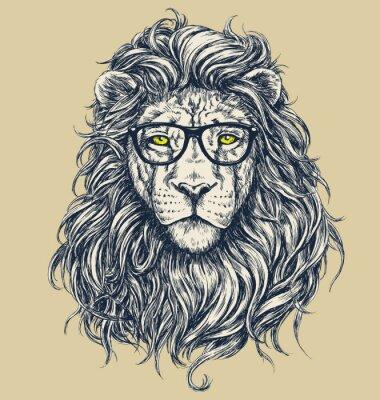 Cuadro Hipster ilustración león vector. Gafas separados.