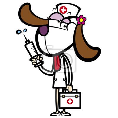Historieta de la enfermera perro con botiquín de primeros auxilios ...
