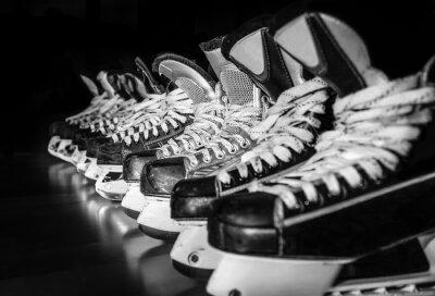 Cuadro Hockey patines alineados en el vestuario