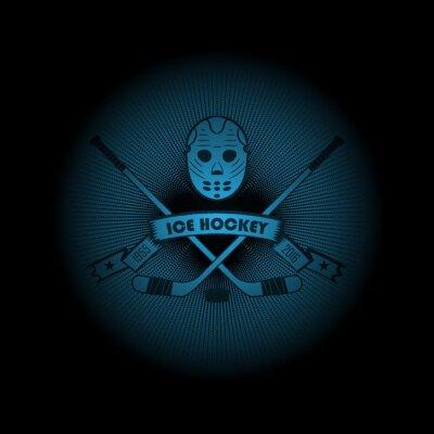 Cuadro ¡Hockey sobre hielo! Logotipo de los deportes. El emblema que aparecía de la oscuridad. ¡Perfeccione en su camisa negra! vector
