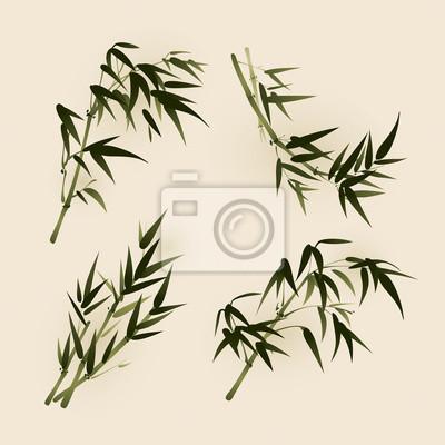 Hojas de bambú, pintura del cepillo del estilo oriental vectorizado ...