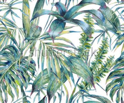 Cuadro Hojas naturales de patrones sin fisuras acuarela exótica, hojas verdes tropicales, helecho, selva densa, Ilustración de verano botánico pintada a mano sobre fondo blanco