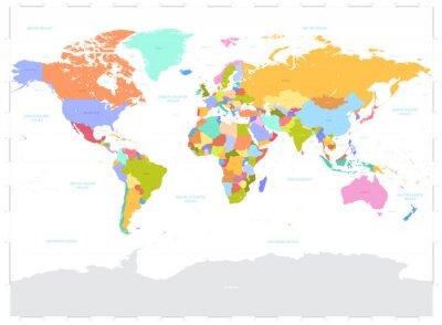 Cuadro Hola ilustración detallada de color vectorial Mapa del Mundo Político