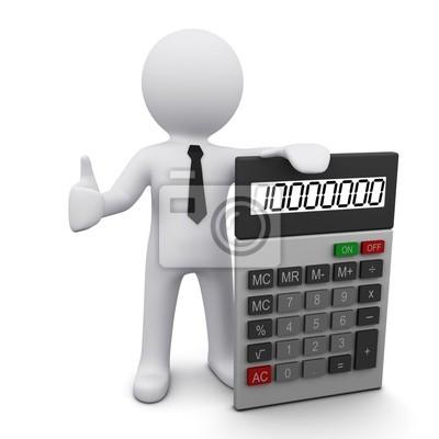 Hombre 3D con la calculadora