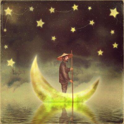 Cuadro Hombre chino se encuentra en la luna en la niebla de la mañana