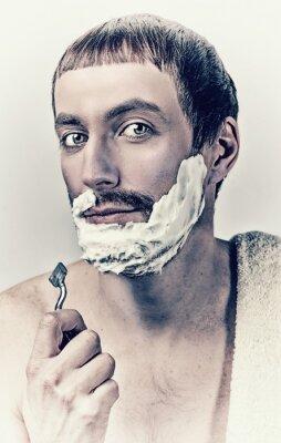 Cuadro hombre de afeitar