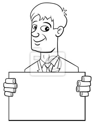 Hombre De Negocios De Dibujos Animados Con La Tarjeta