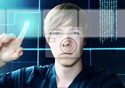 Cuadro Hombre joven y Interfaz de pantalla táctil