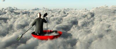Cuadro Hombre que rema a través de las nubes en un paraguas levantado