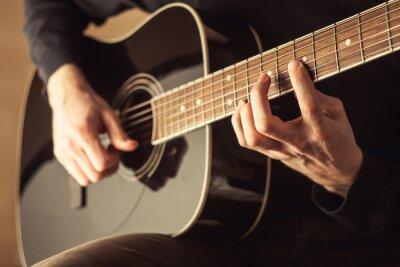 Cuadro Hombres, juego, guitarra, primer plano, tiro