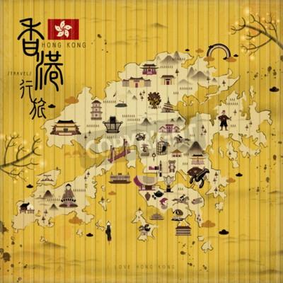 Cuadro Hong Kong mapa de viajes con atracciones en estilo retro - el título superior izquierdo es Hong Kong viajes en chino palabra