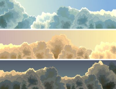 Cuadro Horizontal ilustración puesta del sol, cielo y las nubes.