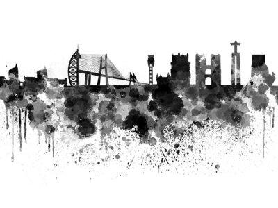 Cuadro Horizonte de Lisboa en el fondo de acuarela negro