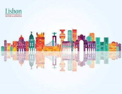 Cuadro Horizonte de Lisboa. Ilustración del vector