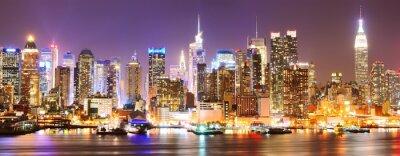Cuadro Horizonte de Manhattan por la noche.