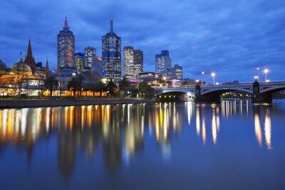 Cuadro Horizonte de Melbourne, Australia Al otro lado del río Yarra en la noche