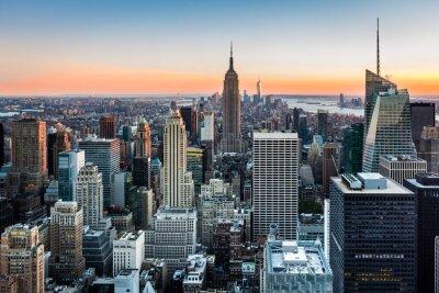 Cuadro Horizonte de Nueva York al atardecer