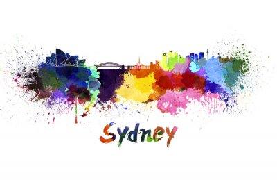 Cuadro Horizonte de Sydney en acuarela
