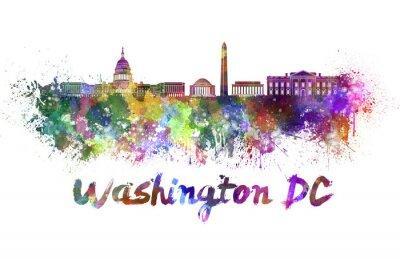 Cuadro Horizonte de Washington DC en acuarela