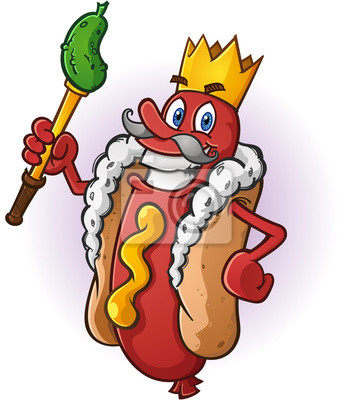Hot Dog King Personaje De Dibujos Animados Pinturas Para La Pared