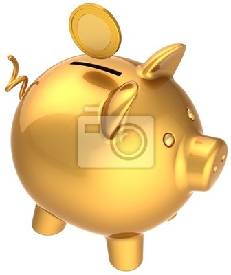 Hucha con moneda sobre él total de símbolo de oro. Donar pago