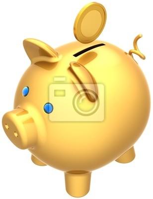 Hucha de oro con moneda sobre él. Pago Seguridad donar