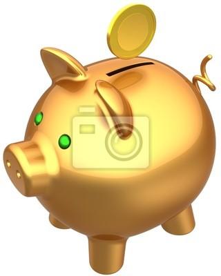 Hucha de oro con un total de moneda sobre él. Concepto de la abundancia